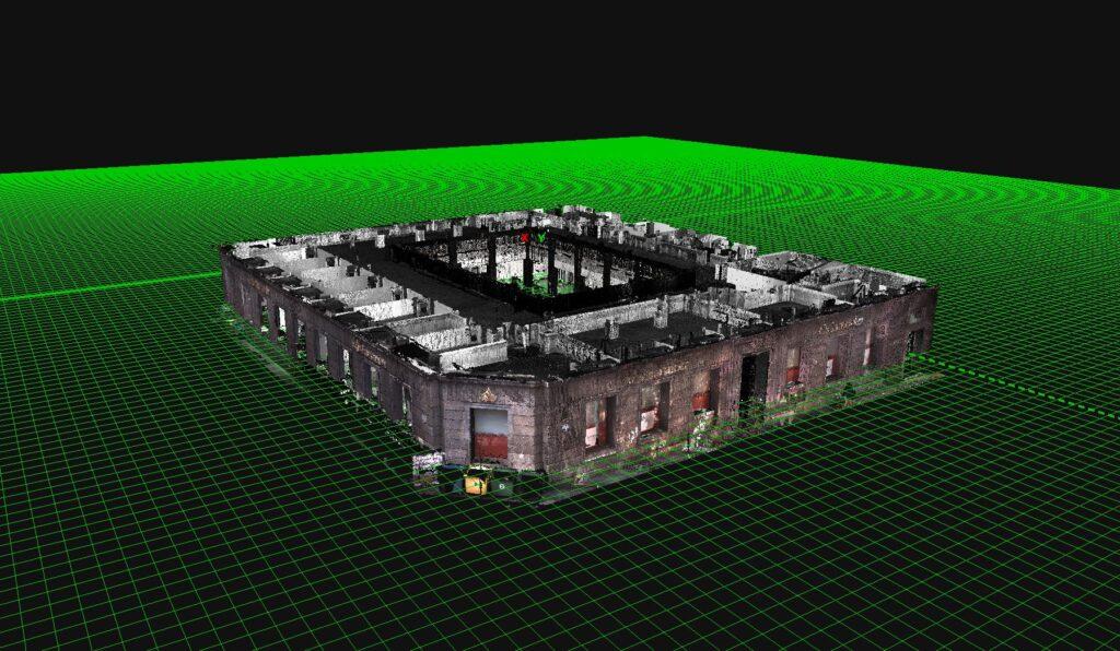 Escaneado y procesado en nube de puntos 3d. Edificio Sanatder Bilbao